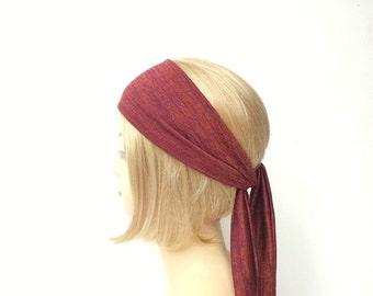 burgundy red long head scarf warm winter headwrap hair accessories sweater knit jersey head wrap hair headscarf