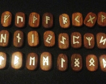 Rune Set. Wood Runes. Rhodesian Teak and silver Elder Futhark runes.