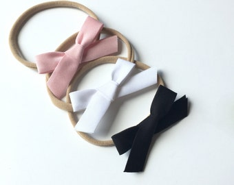 The Basics headband set... Pink baby headband... babies first headband...