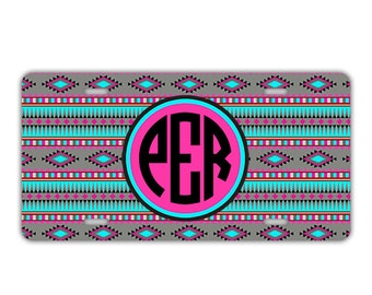 Personalized license plate or frame, Aztec sweet 16 gift, Turquoise and pink, Monogram keychain seat belt cover, Gifts for girls (1029)
