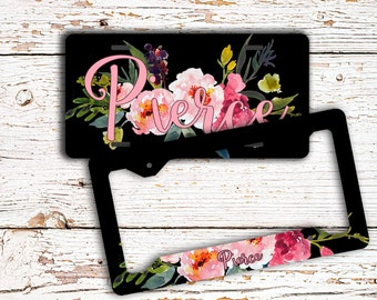 Girly auto accessories, Personalized auto decor, Pretty floral license plate or frame, Pink and black, Name car tag, Gift for her (1660)