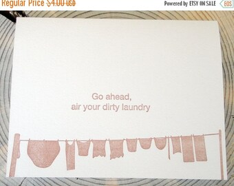 50% OFF Letterpress card: Go ahead, air your dirty laundry, Crane lettra, A2