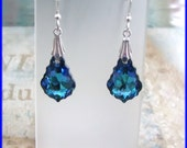 Swarovski Elements Austrian Crystal Aquamarine Vitrail Light Sterling Silver Dangle Earrings Light Blue Royal Purple