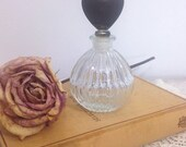 ON SALE Vintage Cut Glass Perfume Bottle With Brass Heart Stopper