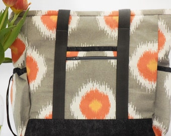 Grey and Orange Kitchen Sink Tote, Professional Tote, Large Tote Bag with pockets, Diaper Bag, Travel Tote, Teacher Tote