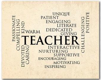 Teacher Appreciation Gift - Teacher Definition - Typography wall art print - End of year gift for teacher - Word art - Back to school gift