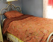 Ralph Lauren Bedding, Mews Paisley Collection, Comforter, King Size, Pair of Shams, Blanket