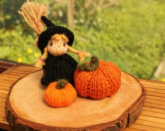 Little witch girl with pumpkins knitting pattern PDF