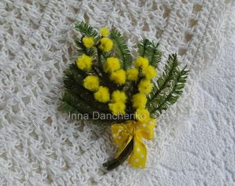 Felted flower brooch Mimosa Spring Felt Flower Pin Brooch Wool Flower Yellow Brooch
