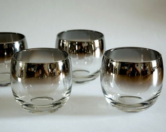 Mad Men Style, Silver Ombre Fade, Roly Poly, Glasses, Barware, Bar Glass, Mid Century Modern, Set of 4, Vintage, Silver, Rocks Glass, Bar