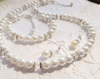 Sale!  Pearl Necklace, Bracelet, and Earring Set - Bridesmaid Gift - Shown in White glass pearls