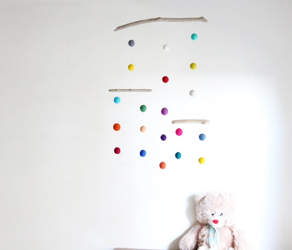 Kinetic Baby Mobile with Colorful Poms and Driftwood -- Felt Balls Mobile -- Gender Neutral Baby Shower Gift -- Ready to ship