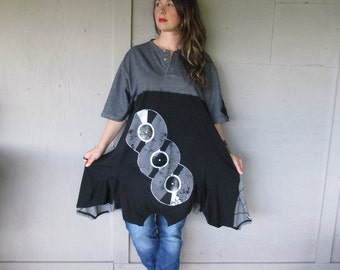 upcycled T shirt dress Funky Lagenlook clothing X Large 1 X plus size Boho Artsy unique tunic Rustic Shabby chic dress by LillieNoraDryGoods
