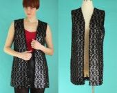 Vintage 70s Sequin Vest - Long Vest - Sleeveless Sheer Vest - Rocker Chic - Glam Rock Clothing - Silver Sequins Womens Vest - Size Large