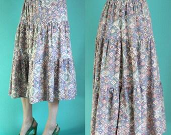 Vintage 90s Boho Skirt - Prairie Skirt - Peasant Skirt - Hippie Skirt -Tribal Print Midi Skirt - Long Full Skirt - Size Medium / Large