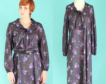 Vintage 70s Jewel Tone Floral Dress - Secretary Dress - Bow Dress - Midi Dress - Long Sleeve Dress - Fall Black Dress - Size Large / XL