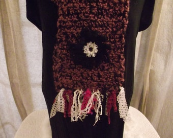 Crochet Scarf in Black and Purple