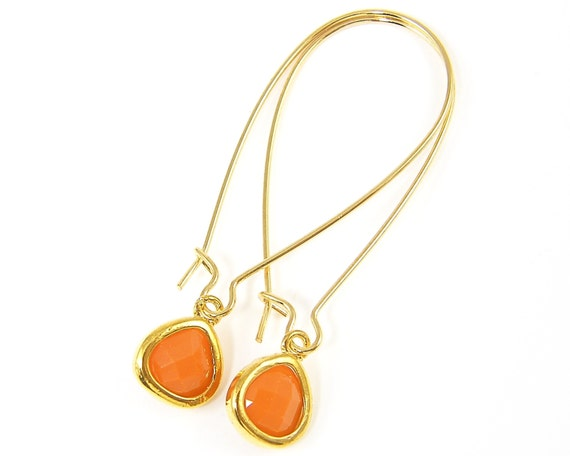 Long orange earrings teardrop long drop earrings gold kidney for Jewelry made from kidney stones