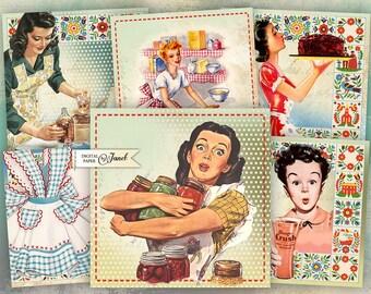 Cooking Cards 2 - set of 6 - digital collage sheet - Printable Download