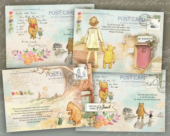 Art Mail - Winnie de Pooh - Illustrations stories - digital collage sheet - set of 4 cards - Printable Download