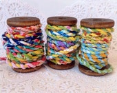 Handmade Fabric Twine, Fabric Twine, Frayed Fabric Twine, Mixed Fabric Twine
