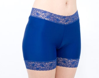 Lace Biker Shorts Spandex Navy Blue Anti Chafing Bottoms