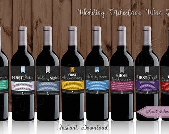 INSTANT DOWNLOAD - 8 Wedding Milestone Wine Labels for Bridal Shower / DIY - Printable Wine Labels / by Sweet Melissa Creations