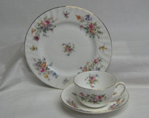 "Vintage Minton English Bone China Trio Marlow 8"" Plate Cup Saucer Luncheon Dessert Set"