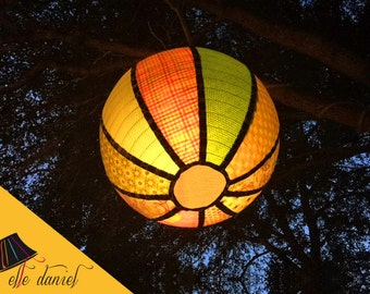 "Handmade 30"" Hanging Lanterns - Indoor or Outdoor Lighting - Globe Lamp with Remote Control & Timer - Fabric Lanterns - Bohemian Decor"