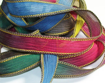 After The Rain 42 inch Silk Ribbon// Wrist  Wrap Silk Bracelet Ribbons// Silk Wrap Yoga Bracelet Ribbons// By Color Kissed Silk