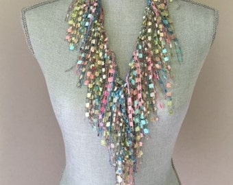 Pastel Fashion Scarf - Spring GemLace Handmade Scarf - Gift Idea for Women - Ladies Gift - Blue and Pink Scarf