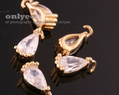 4pcs-7.5mmX3.5mmSmall Bright Gold Faceted tear drop Cubic with rim Charms-Clear(M388G-A)