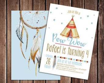 POW WOW Tribal Boy Birthday Party Invitation -5x7 double sided Printable PDF - TeePee Boho Birthday Party