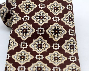 Vintage Men's Brown Wide Tie/ Retro Fat Necktie