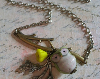 SALE Antiqued brass branch and porceline owl charm pendant woodland necklace