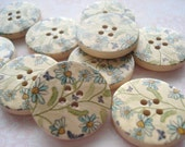 25mm Wood Buttons Grey Green Daisy Pattern Pack of 10 Button W2538