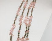 Vintage Extra Long Pink, Peach and Green Czech Beaded Leaf Necklace