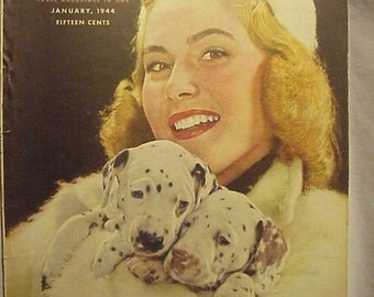 January 1944 McCall's Magazine with the cover By Nickolas Muray , has 100 pages of ads and articles, Vintage Woman's Magazine