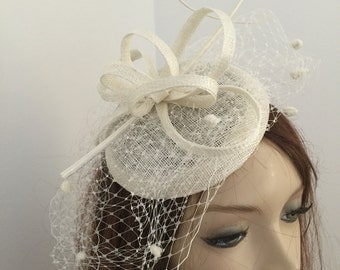 Fascinator Hat Cream Hatinator hairband, perfect for the races or a wedding