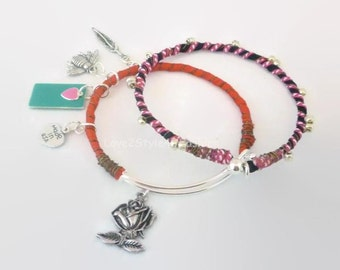 Boho Bangle Set - Minimalist Bangle - Bangle Bracelets - Stacking Bracelets - Bangle Bracelet - Artisan Bangle - Expandable Bangle - Bangles