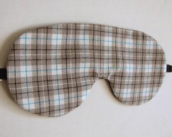 Plaid Sleeping Mask, Adjustable Plaid Sleep Mask, Sleeping Eye Mask, Plaid Sleep Mask