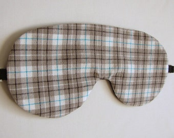 Plaid Sleeping Mask, Adjustable Plaid Sleep Mask, Sleeping Eye Mask