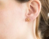 Rose Gold Stud Earrings -  Rose Gold Knot Earrings -  Bridesmaids Gift - Gold Earrings - Gifts - Deezignstudio