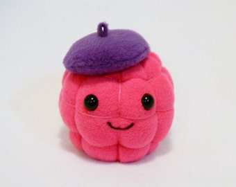 Plush raspberry beret toy