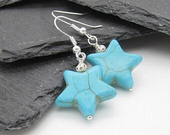 Turquoise Star Earrings, Gemstone Drop Earrings, Star Jewellery, Blue Stone Earrings, Semi Precious Stone, Gift For Female, Star Drops