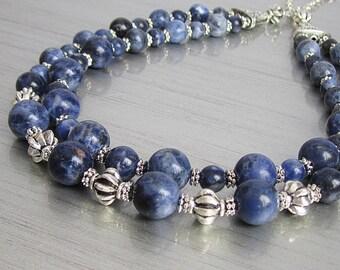 Sodalite Gemstone Two Strand Necklace, Graduated Stone Jewellery, Dark Blue Chunky Bib Style, Blue Natural Stone Necklace, Statement Jewelry