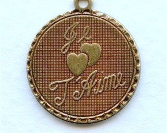 1 Round French Charm - Ox Brass - Je T'Aime - I Love You