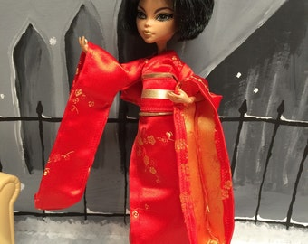 Red and Gold Japanese Kimono for your Monster High Girl Doll