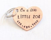 "Pet ID Tag ""I'm a Diva"" Pet Tag, Dog ID Tag Personalized Pet Jewelry, Dog Tag for Dogs Heart Shape Dog Collar Tag - Little Zoe 1.25"""