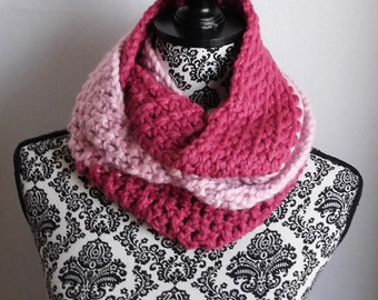 Chunky Cowl Infinity Scarf Color Block Two Tone Pink Crochet